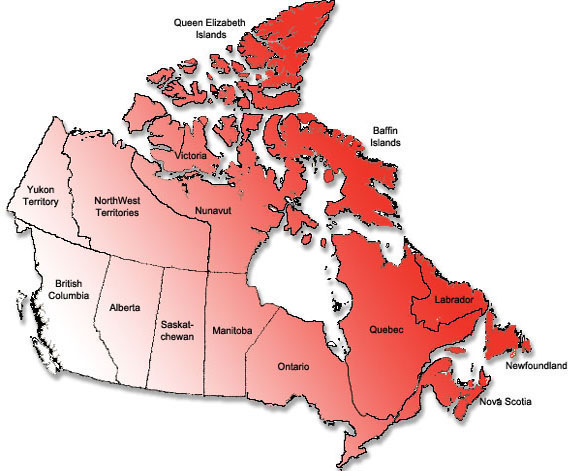 Map of Canadian Provinces